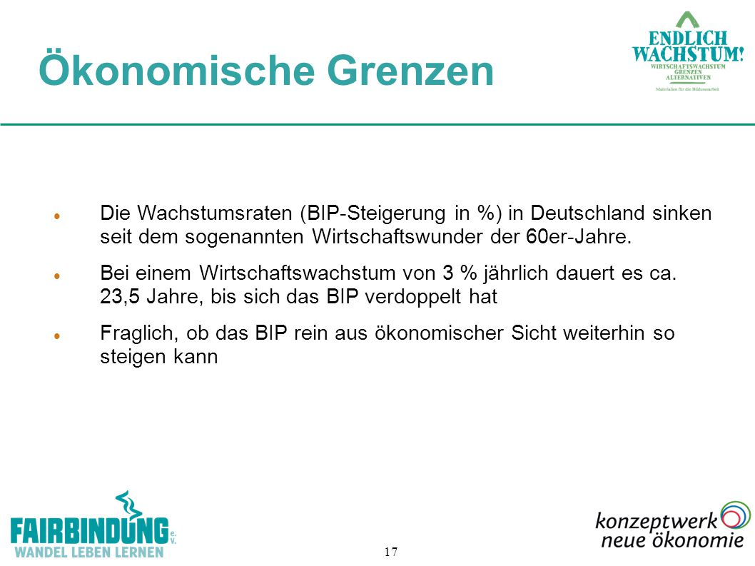 Ökonomische Grenzen Die Wachstumsraten (BIP-Steigerung in %) in Deutschland sinken seit dem sogenannten Wirtschaftswunder der 60er-Jahre.