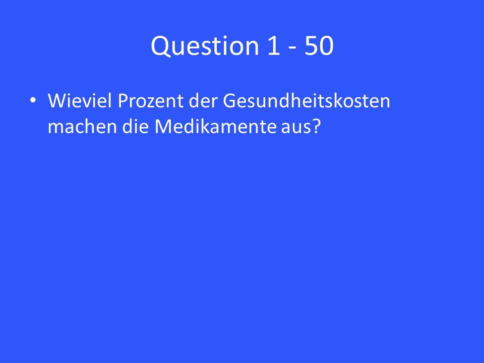 Question 1 - 50 Wieviel Prozent der Gesundheitskosten machen die Medikamente aus