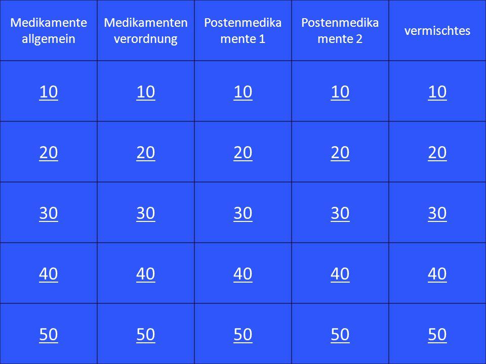 10 20 30 40 50 Medikamente allgemein Medikamentenverordnung