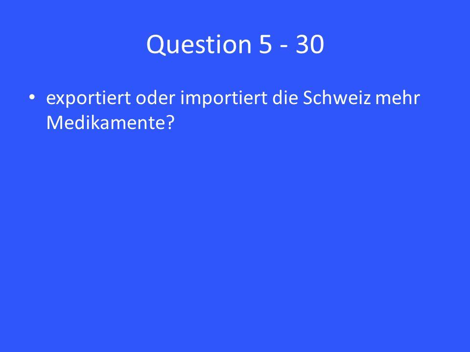 Question 5 - 30 exportiert oder importiert die Schweiz mehr Medikamente