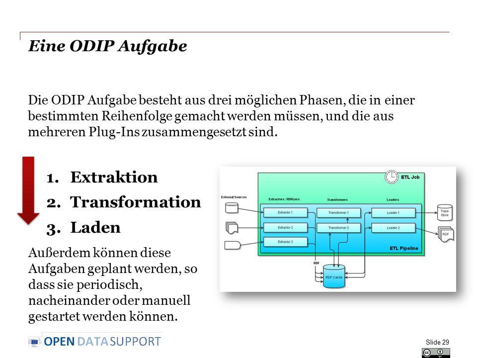 Eine ODIP Aufgabe Extraktion Transformation Laden