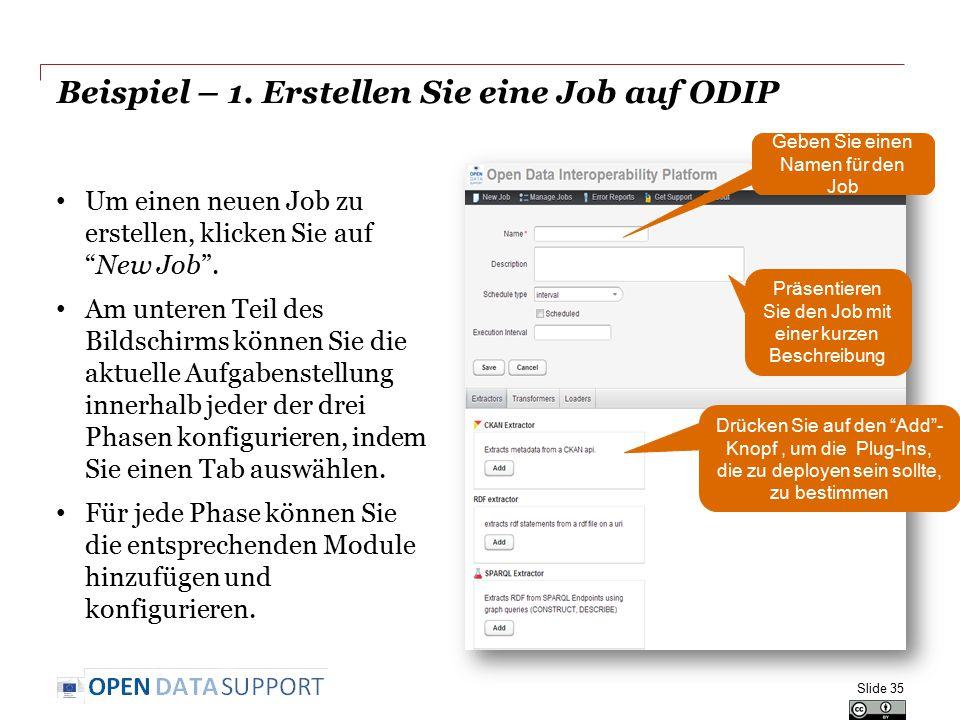 Beispiel – 1. Erstellen Sie eine Job auf ODIP