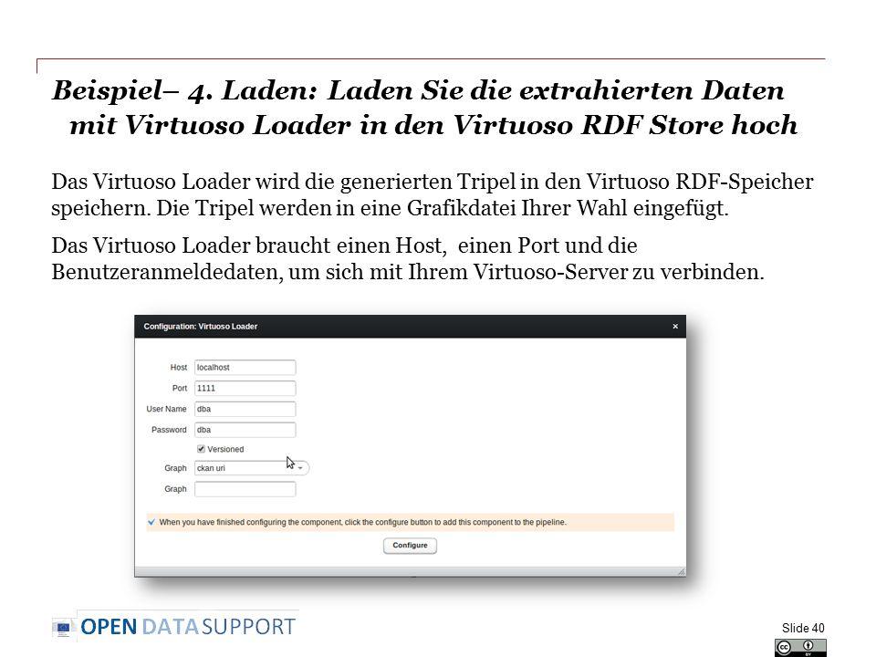 Beispiel– 4. Laden: Laden Sie die extrahierten Daten mit Virtuoso Loader in den Virtuoso RDF Store hoch