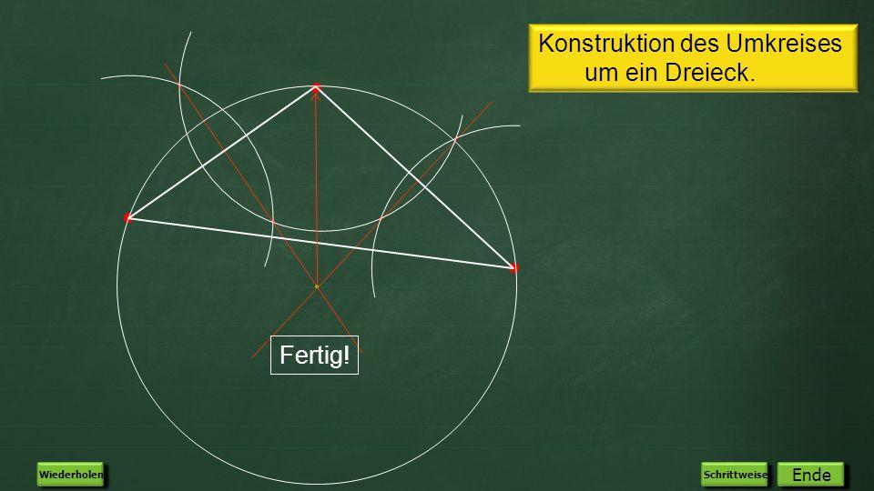 Konstruktion des Umkreises um ein Dreieck.