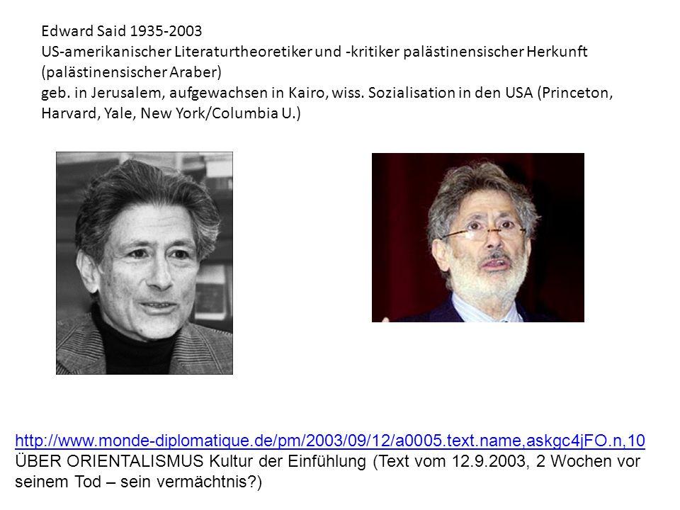 Edward Said 1935-2003 US-amerikanischer Literaturtheoretiker und -kritiker palästinensischer Herkunft (palästinensischer Araber) geb. in Jerusalem, aufgewachsen in Kairo, wiss. Sozialisation in den USA (Princeton, Harvard, Yale, New York/Columbia U.)