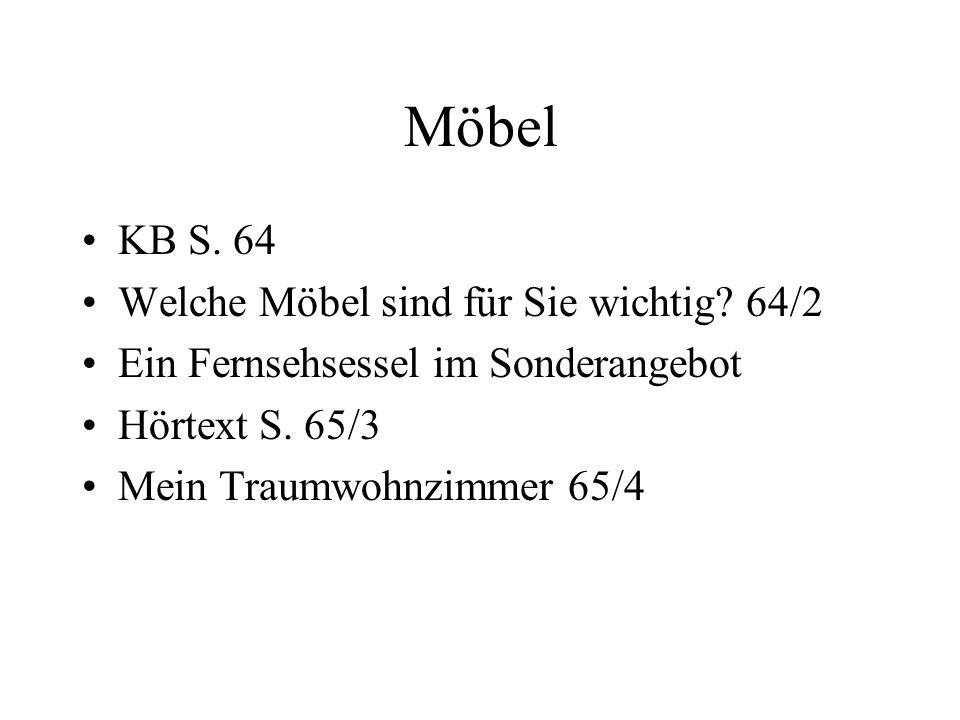 Möbel KB S. 64 Welche Möbel sind für Sie wichtig 64/2
