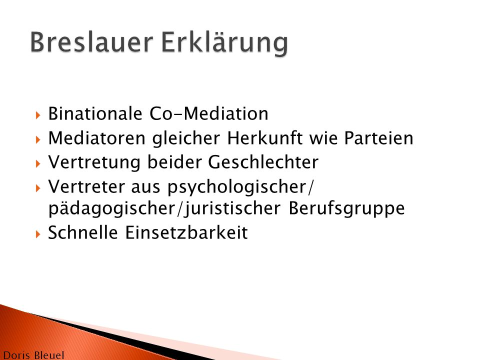 Breslauer Erklärung Binationale Co-Mediation