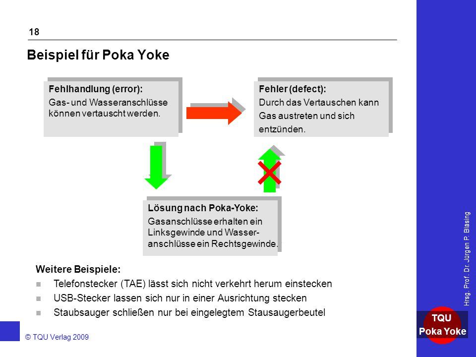 Beispiel für Poka Yoke Weitere Beispiele: