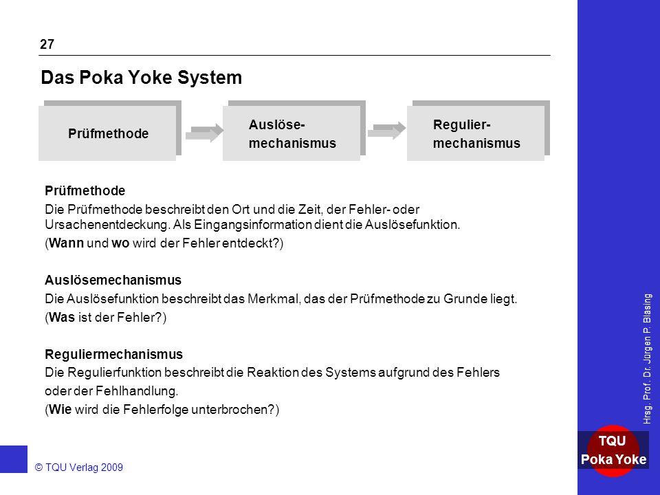 Das Poka Yoke System Prüfmethode Auslöse- mechanismus Regulier-