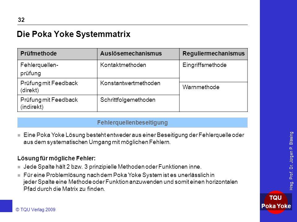 Die Poka Yoke Systemmatrix