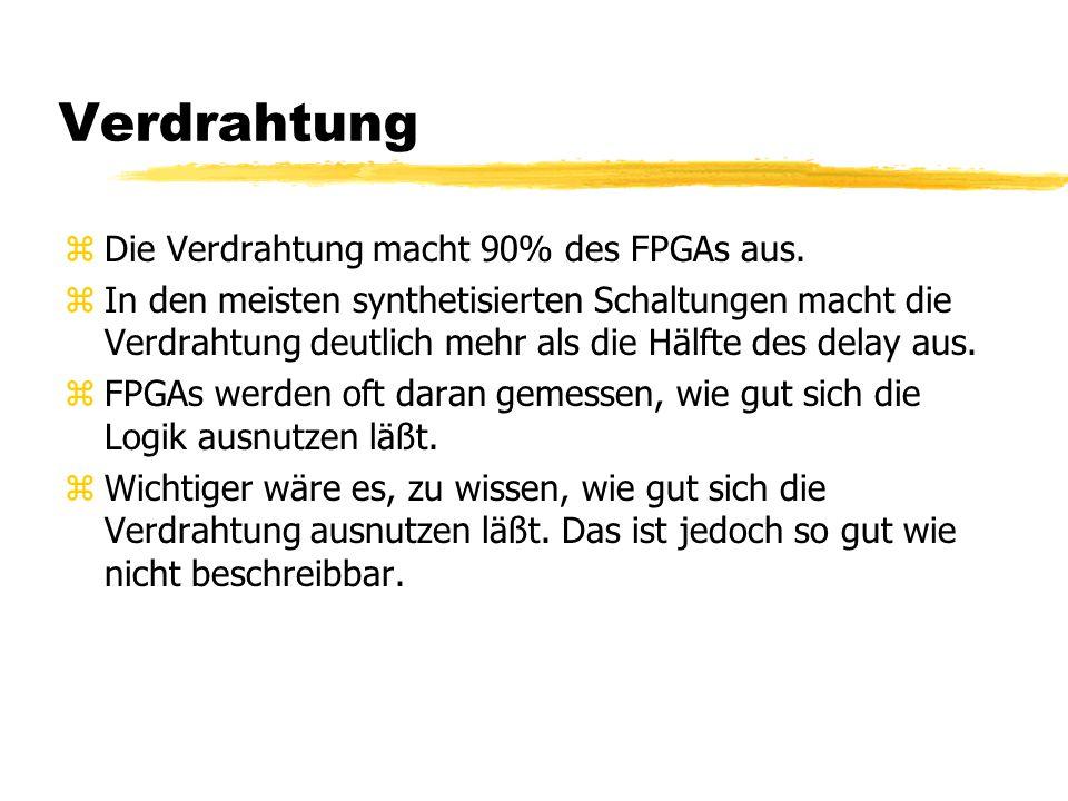 Verdrahtung Die Verdrahtung macht 90% des FPGAs aus.
