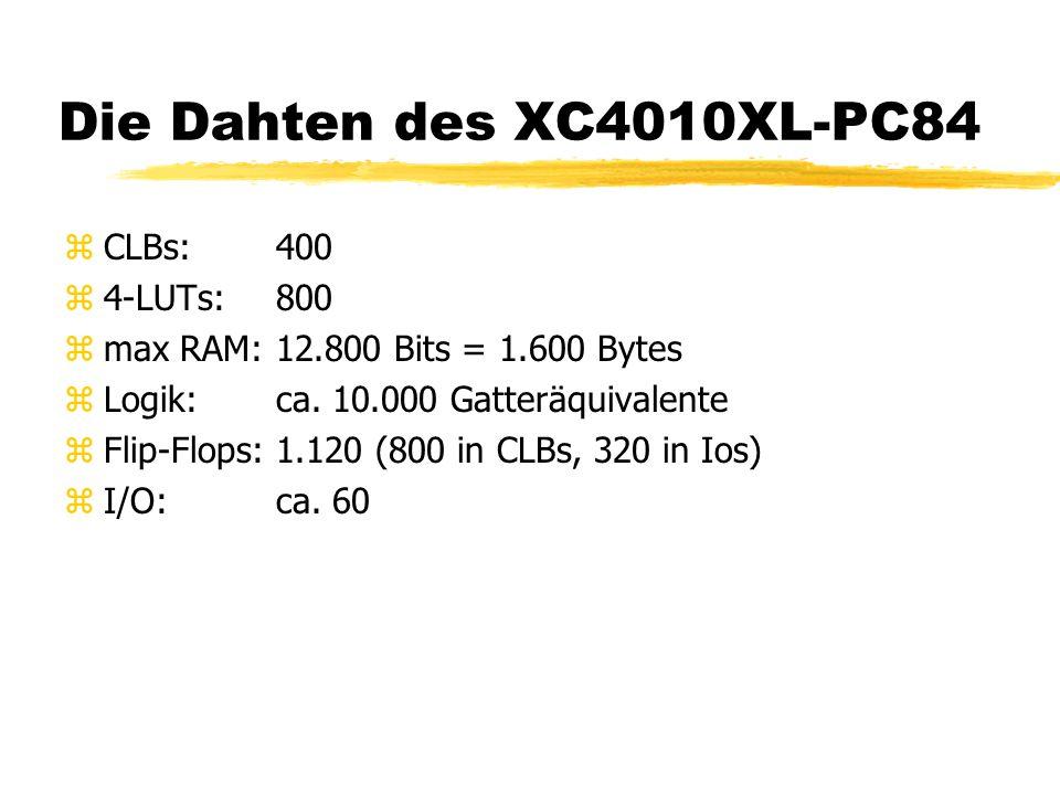 Die Dahten des XC4010XL-PC84 CLBs: 400 4-LUTs: 800