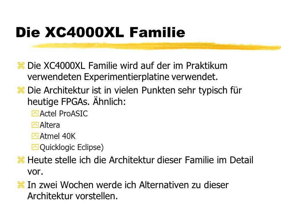 Die XC4000XL Familie Die XC4000XL Familie wird auf der im Praktikum verwendeten Experimentierplatine verwendet.