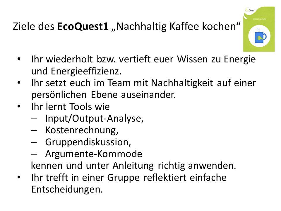 """Ziele des EcoQuest1 """"Nachhaltig Kaffee kochen"""