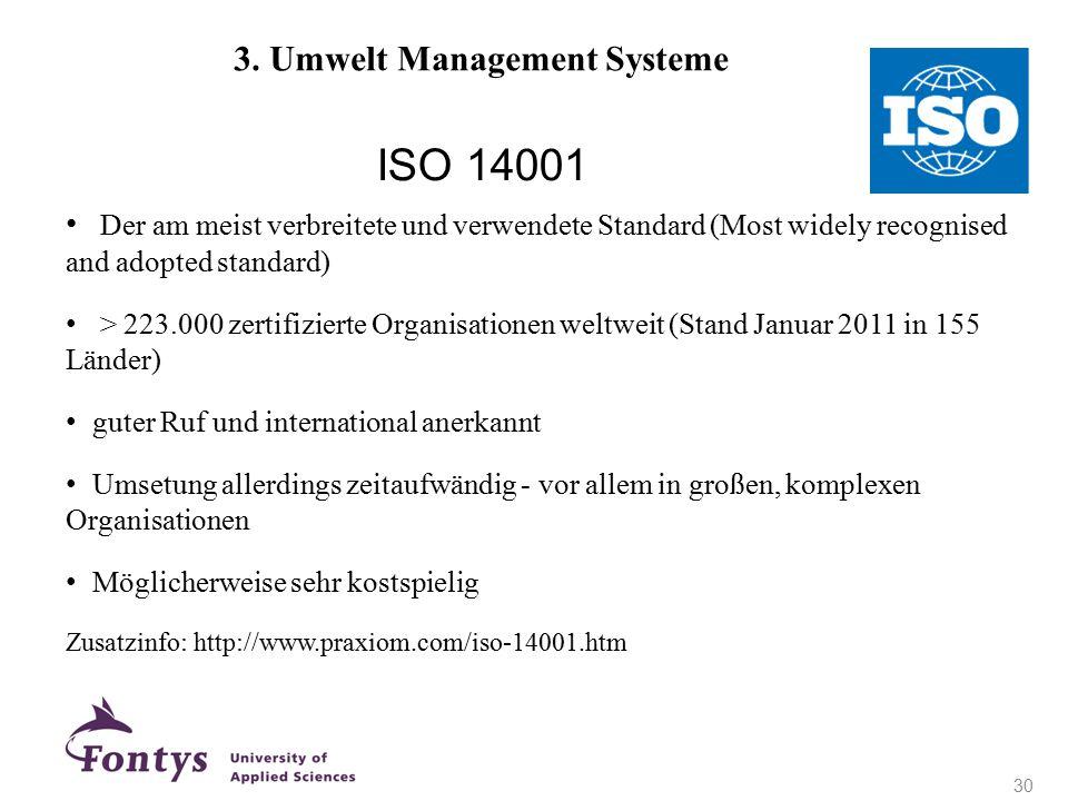 + ISO 14001 3. Umwelt Management Systeme