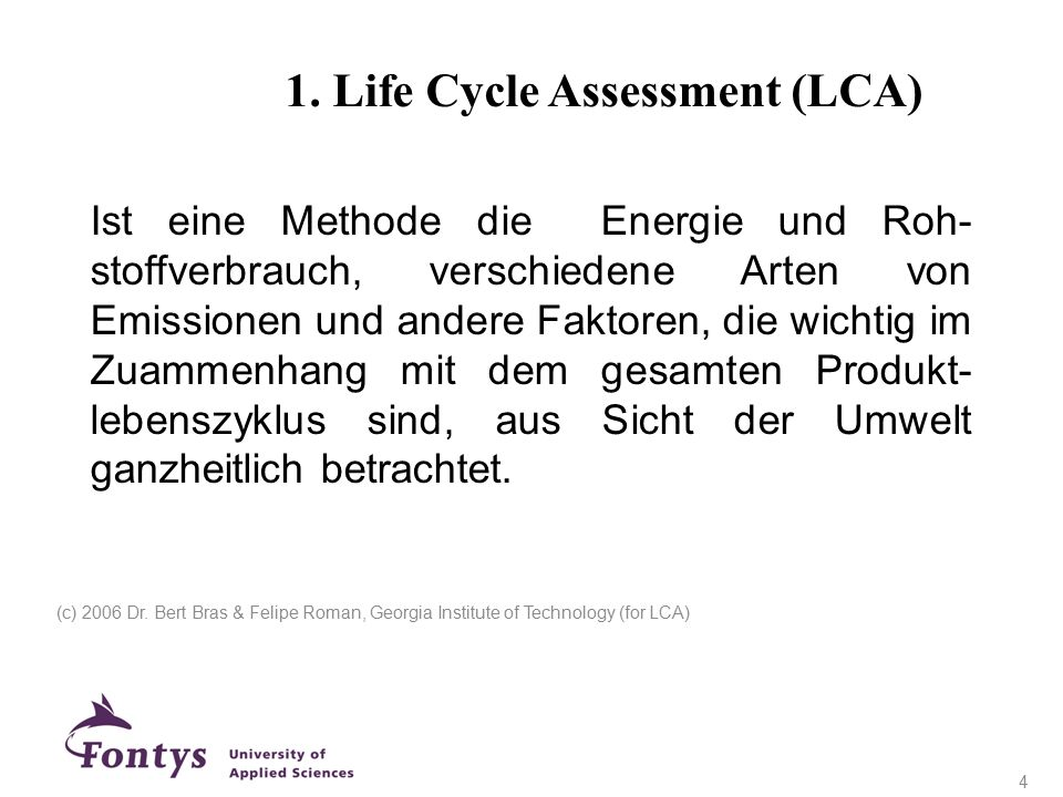 1. Life Cycle Assessment (LCA)