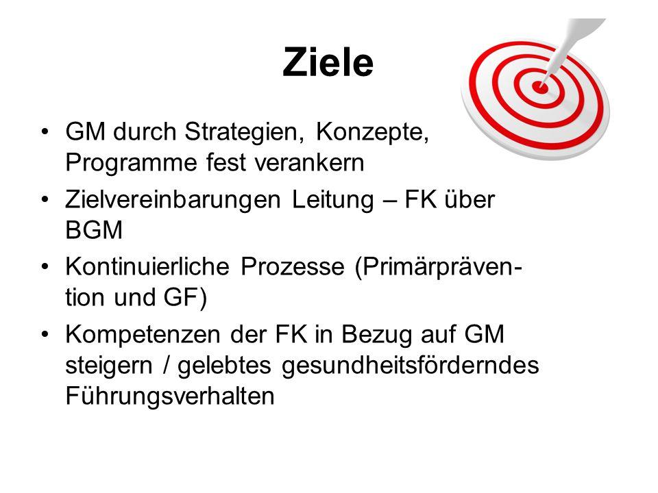 Ziele GM durch Strategien, Konzepte, Programme fest verankern