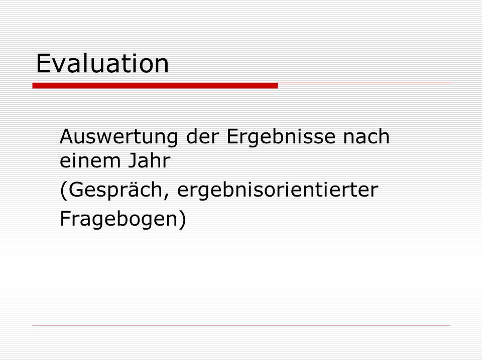 Evaluation Auswertung der Ergebnisse nach einem Jahr