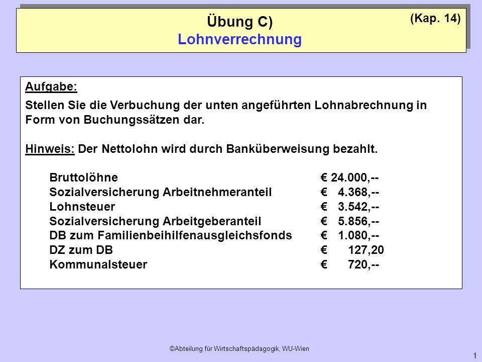 Übung C) Lohnverrechnung