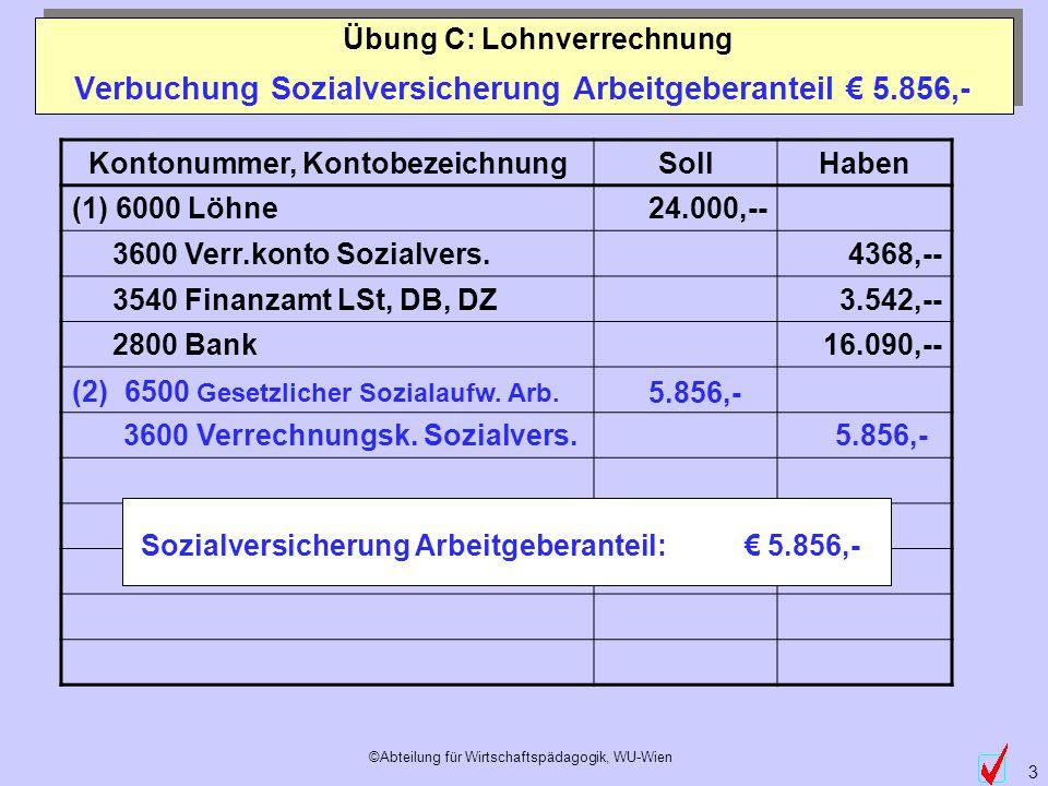 Verbuchung Sozialversicherung Arbeitgeberanteil € 5.856,-