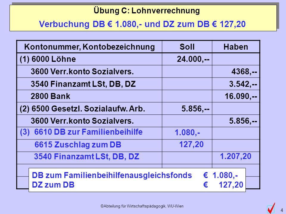 Verbuchung DB € 1.080,- und DZ zum DB € 127,20