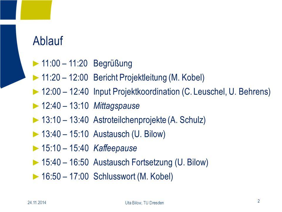 Ablauf 11:00 – 11:20 Begrüßung. 11:20 – 12:00 Bericht Projektleitung (M. Kobel) 12:00 – 12:40 Input Projektkoordination (C. Leuschel, U. Behrens)