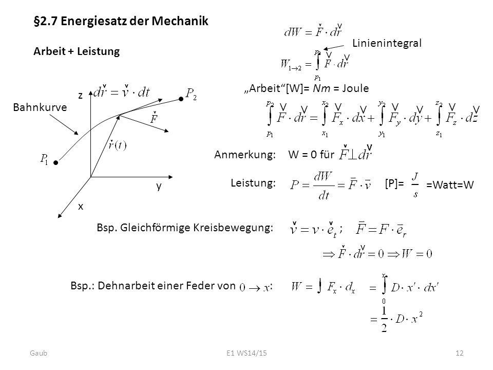 §2.7 Energiesatz der Mechanik