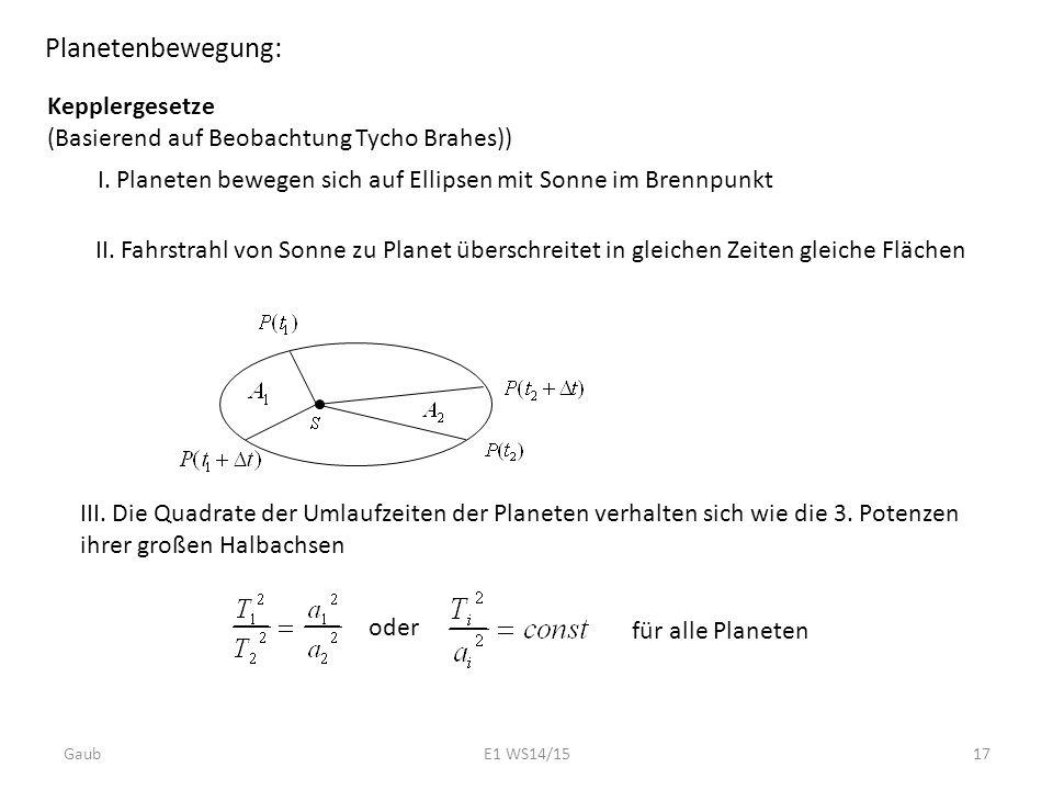 Planetenbewegung: Kepplergesetze