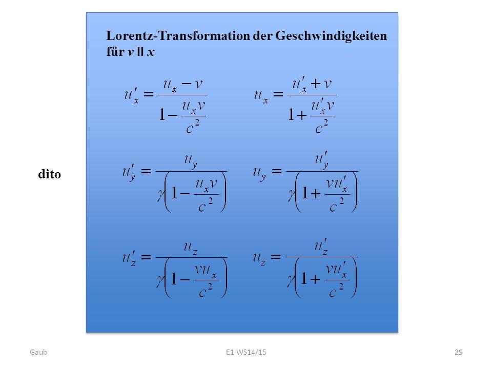 Lorentz-Transformation der Geschwindigkeiten für v II x