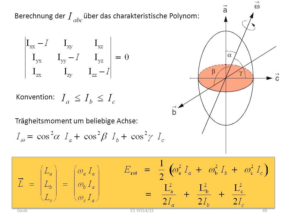 Berechnung der über das charakteristische Polynom: