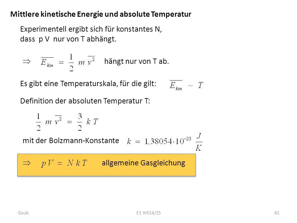 Mittlere kinetische Energie und absolute Temperatur