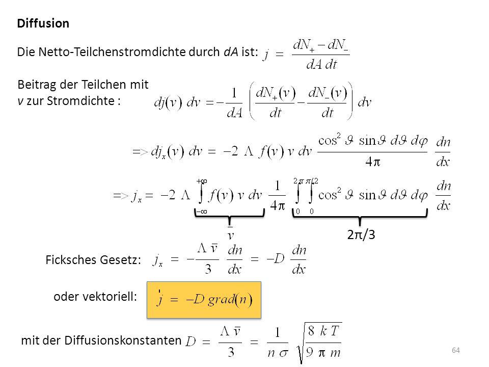 2π/3 Diffusion Die Netto-Teilchenstromdichte durch dA ist: