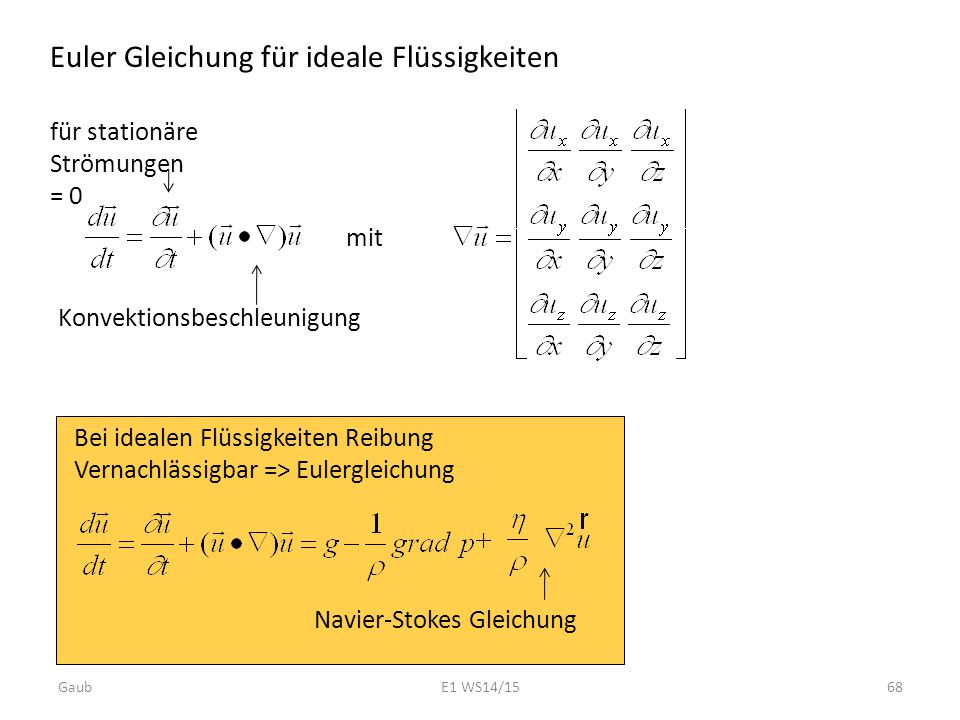 Euler Gleichung für ideale Flüssigkeiten