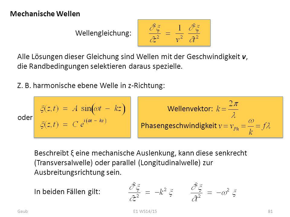 Z. B. harmonische ebene Welle in z-Richtung:
