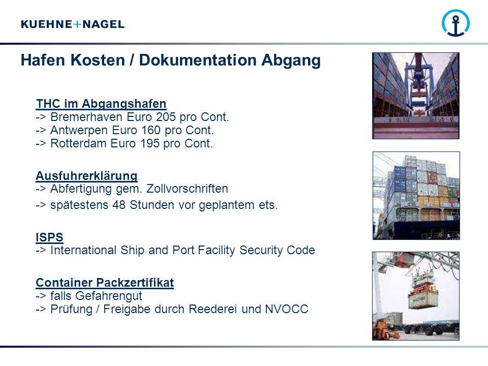 Hafen Kosten / Dokumentation Abgang
