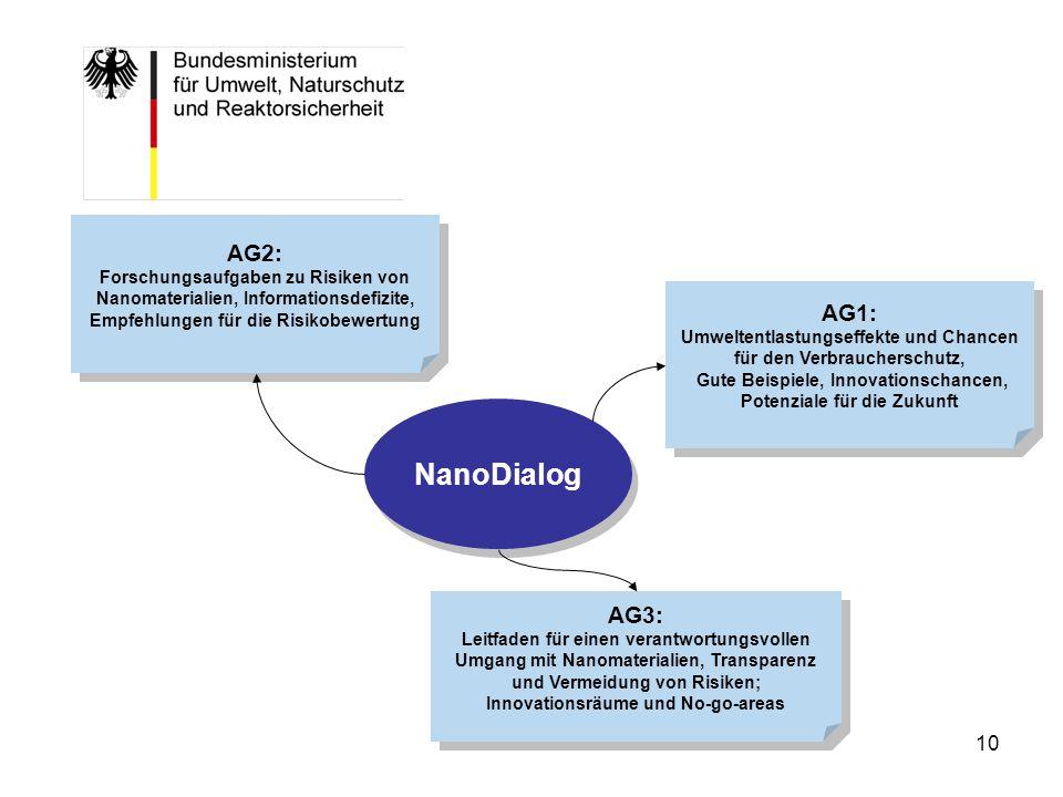 AG2: Forschungsaufgaben zu Risiken von Nanomaterialien, Informationsdefizite, Empfehlungen für die Risikobewertung.