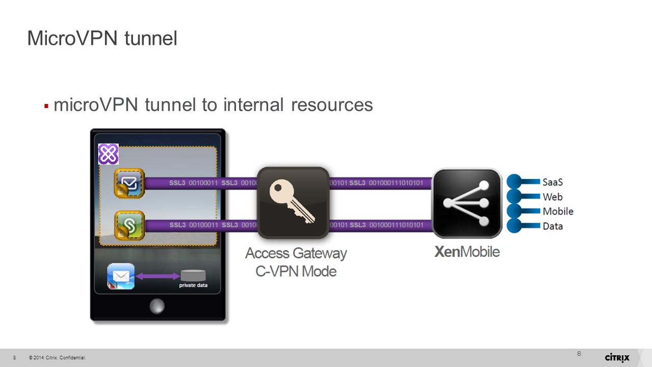 MicroVPN tunnel microVPN tunnel to internal resources