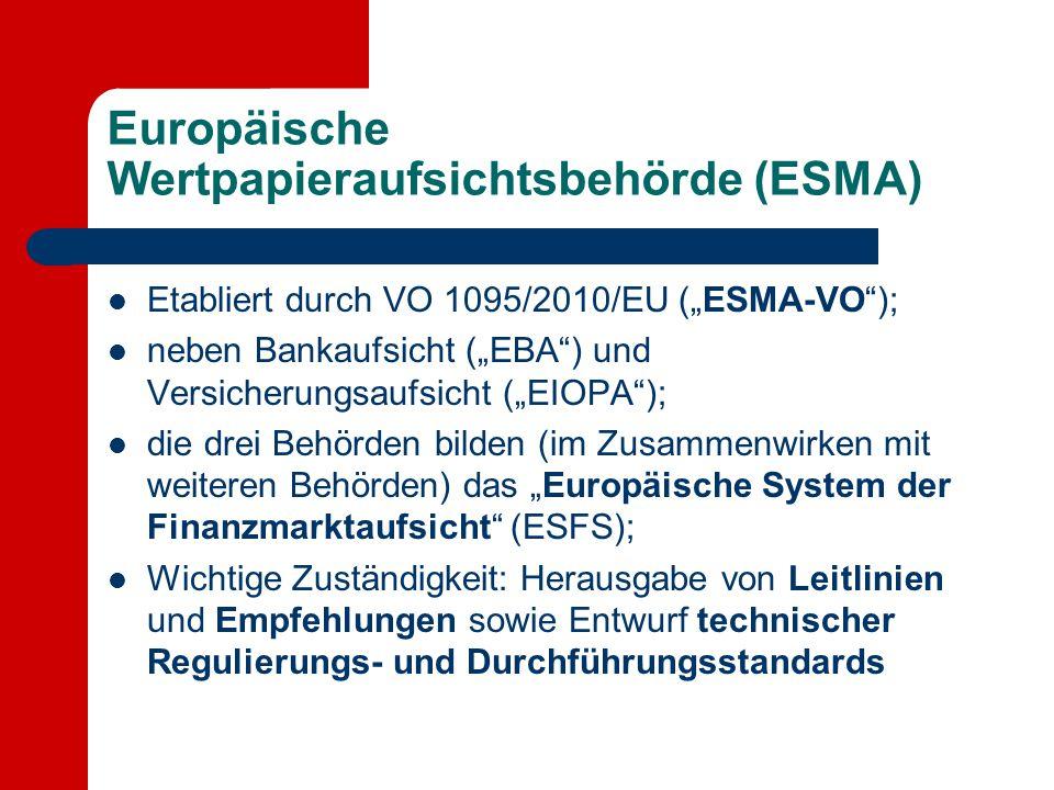 Europäische Wertpapieraufsichtsbehörde (ESMA)