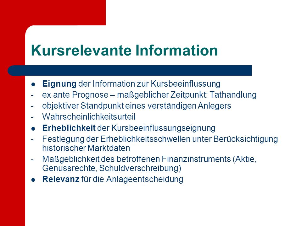 Kursrelevante Information