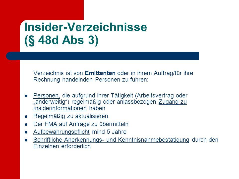 Insider-Verzeichnisse (§ 48d Abs 3)