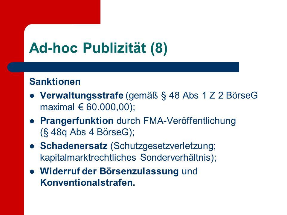 Ad-hoc Publizität (8) Sanktionen