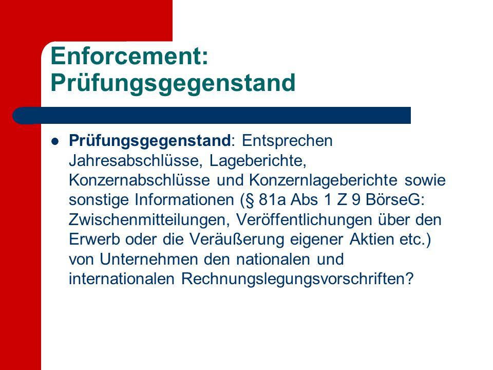 Enforcement: Prüfungsgegenstand