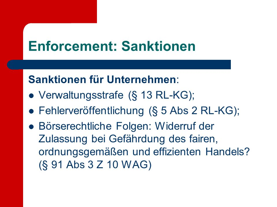 Enforcement: Sanktionen