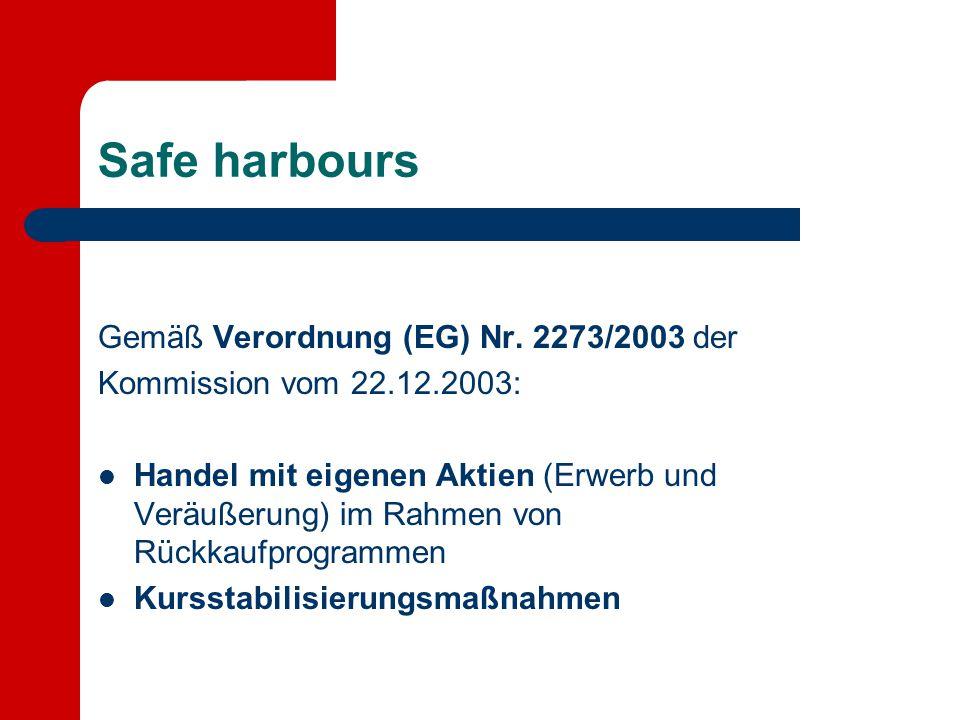 Safe harbours Gemäß Verordnung (EG) Nr. 2273/2003 der