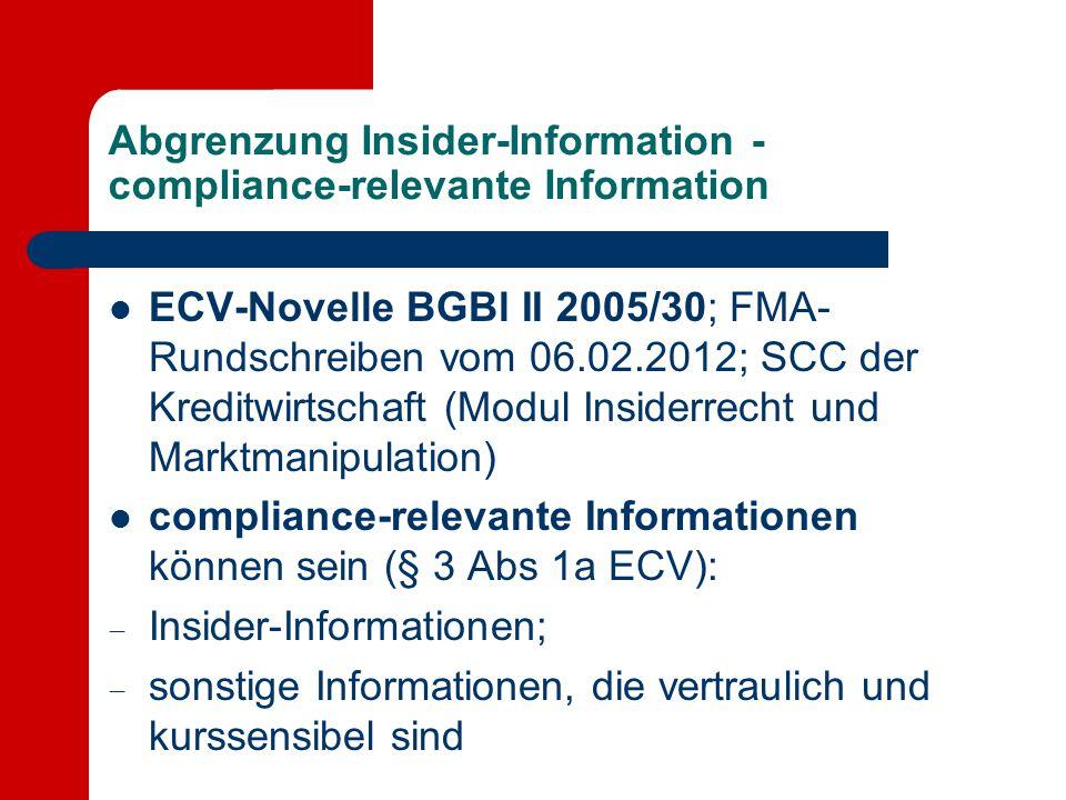 Abgrenzung Insider-Information - compliance-relevante Information