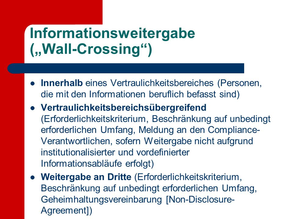 "Informationsweitergabe (""Wall-Crossing )"
