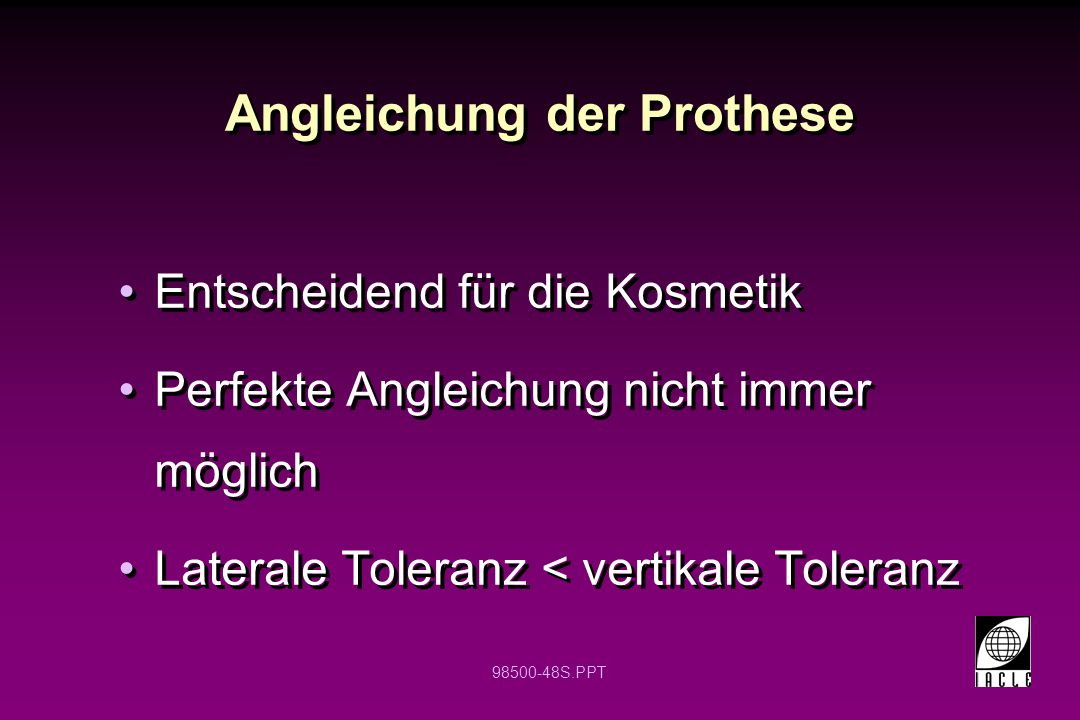 Angleichung der Prothese