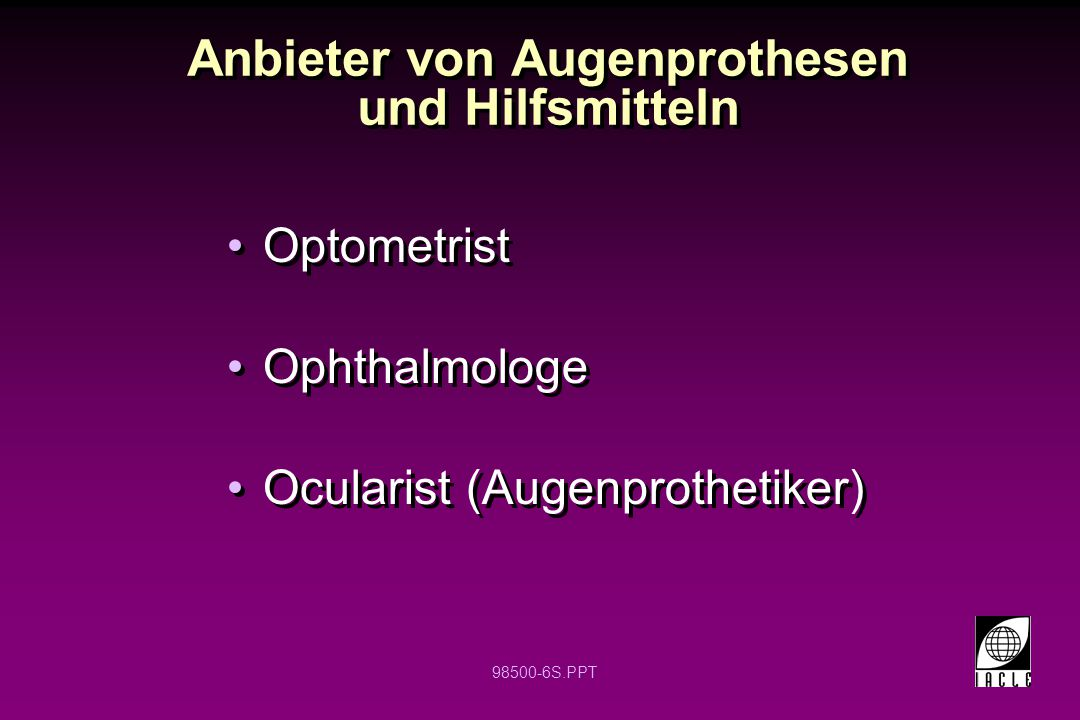 Anbieter von Augenprothesen und Hilfsmitteln