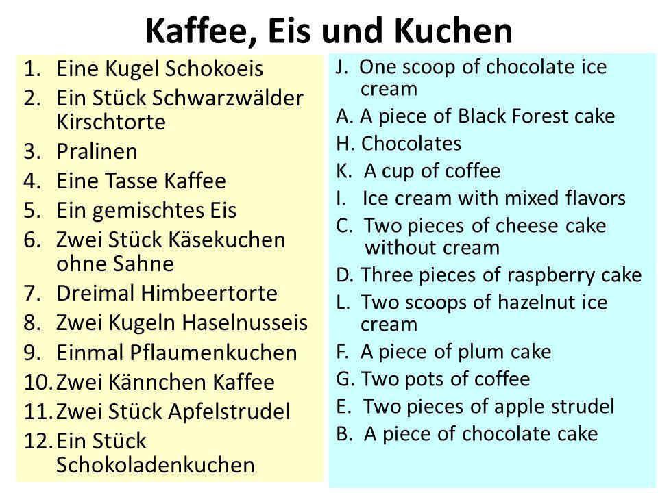 Kaffee, Eis und Kuchen Eine Kugel Schokoeis