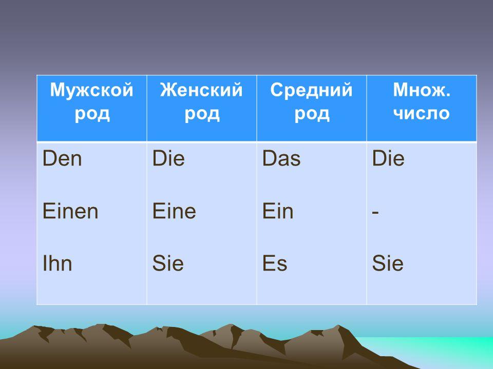 Den Einen Ihn Die Eine Sie Das Ein Es - Мужской род Женский род